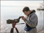 Digiscoping at Croton Bay, photo by Carena Pooth